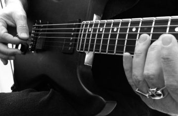 Baritone Guitar Washes Studio Session - Guitar Closeup